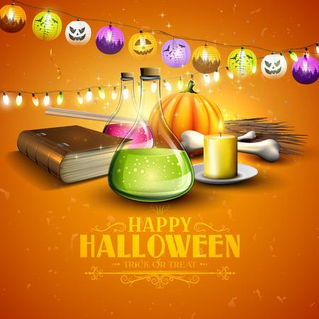pocima: tarjeta de felicitación de Halloween - Tubos con pociones, libro viejo y calabazas sobre fondo naranja Vectores