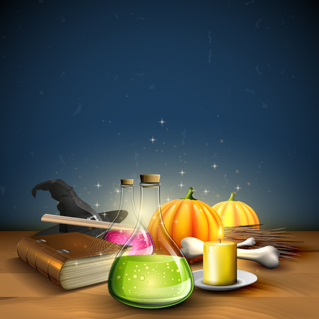 Halloween greeting card - Tubes with potions, old book and pumpkins on blue background Illustration