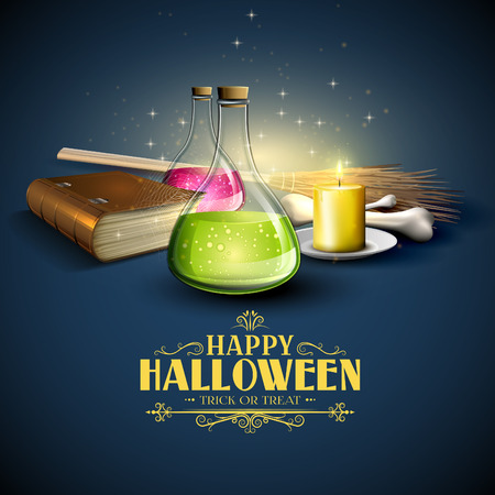 magic potion: Halloween greeting card - Tubes with potions, old book and pumpkins on blue background Illustration