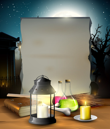 gloomy: Halloween gloomy background with empty paper for your text