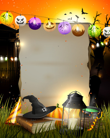 Halloween party poster with empty paper for your text Illustration