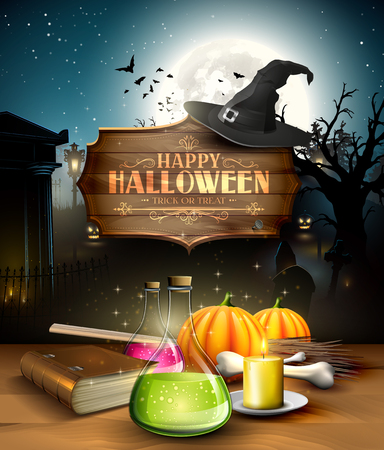 Halloween greeting card - Tubes with potions, old book, lantern and wooden sign in front of old graveyard