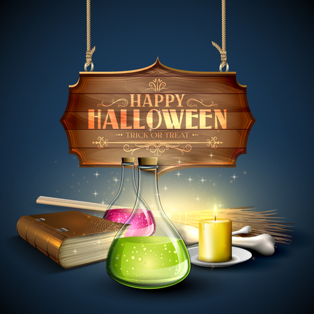 Halloween greeting card - Tubes with potions, old book, pumpkins and wooden sign on blue background