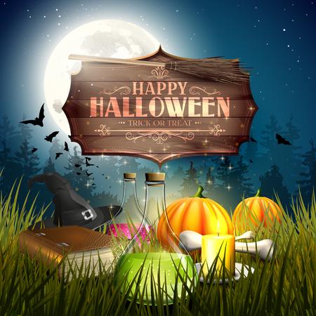 pocima: Fondo de Halloween o tarjeta con elementos de Halloween y viejo cartel de madera con las letras caligráficas Vectores