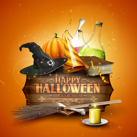 Halloween background or card with Halloween elements and old wooden sign with calligraphic lettering