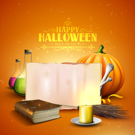 pocima: Halloween background or card with Halloween elements and with place for your text Vectores