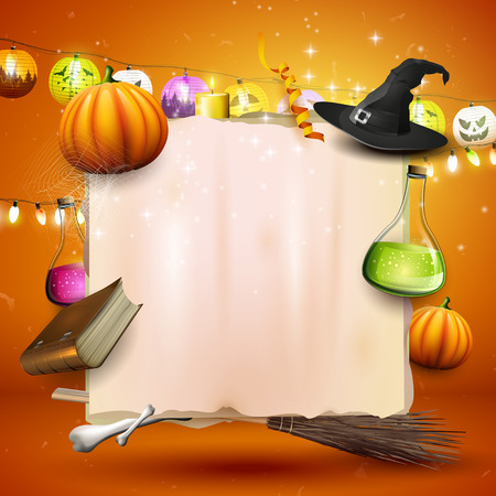 Halloween background or card with Halloween elements and old paper with place for your text