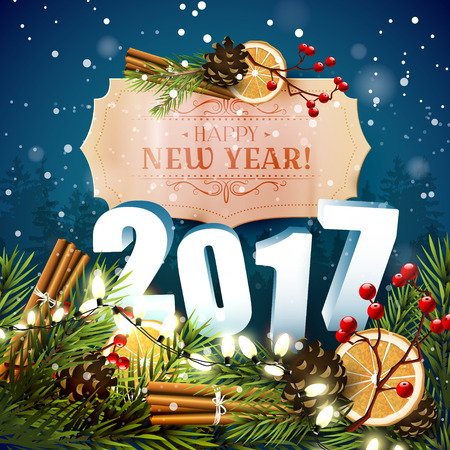 sylvester: Happy New Year 2017 - traditional decorations and 3D numbers on blue background