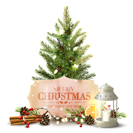Christmas greeting card with Christmas tree, lantern and traditional decorations on whitebackground Illustration