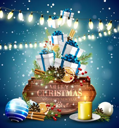 Weihnachtsgrußkarte mit traditionellen Dekorationen, Geschenkboxen und Vintage-Holz-Zeichen auf blauem Hintergrund Vektorgrafik