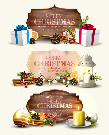Vector set of three Christmas headers with traditional decorations and wooden or paper vintage labels