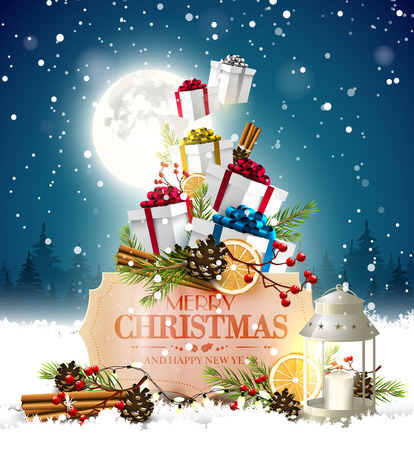 Christmas greeting card with traditional decorations,gift boxes and vintage paper label in front of winter landscape