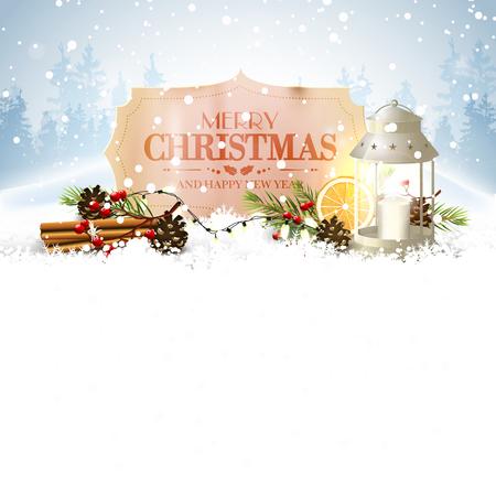 Weihnachtsgrußkarte mit traditionellen Dekorationen und Vintage-Papier-Etikett auf dem Schnee und Platz für Ihren Text Vektorgrafik