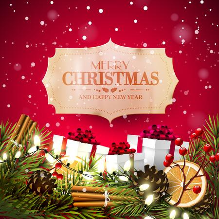Weihnachtsgrußkarte mit traditionellen Dekorationen und Weinlesepapieraufkleber auf rotem Hintergrund