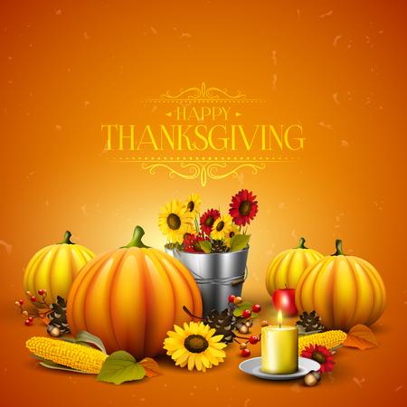 Thanksgiving wenskaart met pompoenen, bladeren, maïs en zonnebloemen op een oranje achtergrond