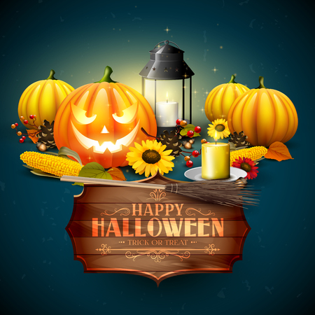 corn flower: Traditional Halloween background with pumpkins, old lantern, corn and sunflowers on orange background