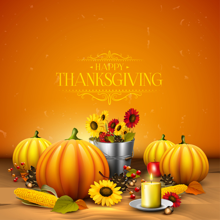 Thanksgiving greeting card with pumpkins, leaves, corn and sunflowers on orange background