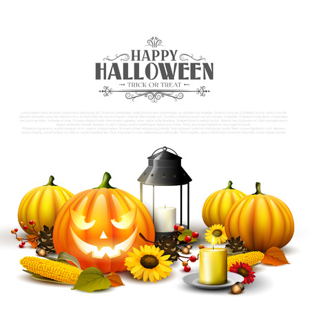 Traditional Halloween background with pumpkins, old lantern, corn and sunflowers on white background