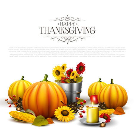 cone: Thanksgiving background with pumpkins, leaves, corn and sunflowers on white background