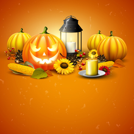 Traditional Halloween background with pumpkins, old lantern, corn and sunflowers on orange background