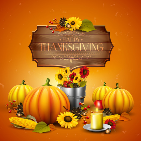 corn flower: Thanksgiving greeting card with pumpkins, leaves, corn and sunflowers on orange background