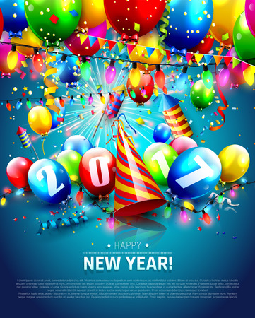New Year greeting card with colorful balloons and confetti on blue background