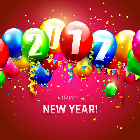 sylvester: Happy New Year 2017 - greeting card with colorful balloons on red background