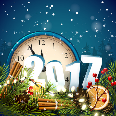 New Year greeting card with traditional decorations and old clocks on blue background Illustration