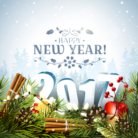 New Year greeting card with traditional decorations and 3D numbers in front of winter landscape