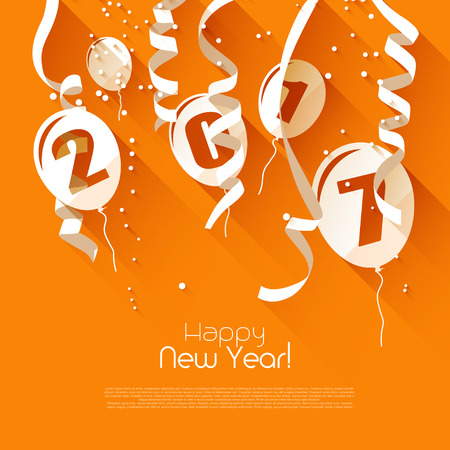 Happy New Year 2017 - orange greeting card with paper balloons and confetti