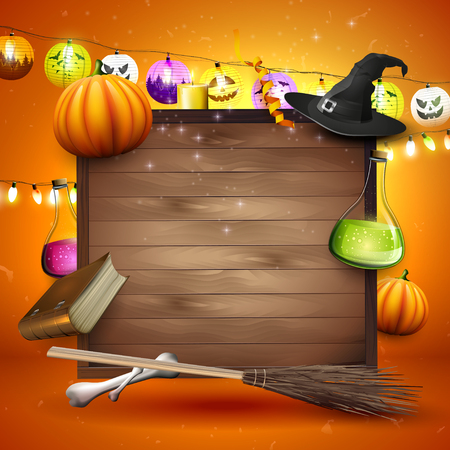 place for your text: Halloween background with Halloween elements and place for your text