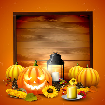 Traditonal Halloween background with Halloween elements and place for your text