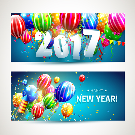sylvester: New Year 2017 - vector set of two New Year banners with colorful balloons and confetti