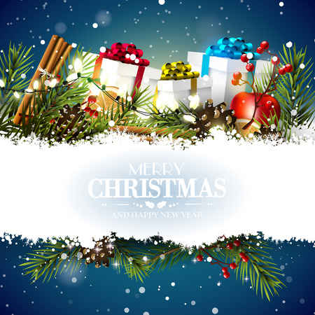 Christmas greeting card with gift boxes and traditional decorations on blue background