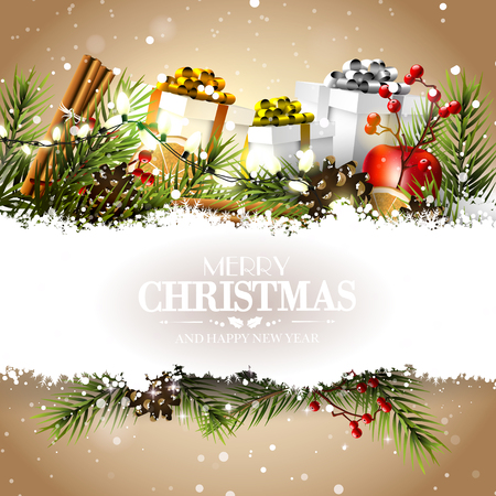 Christmas greeting card with gift boxes and traditional decorations on paper background Illustration