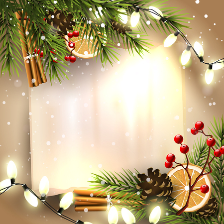 Christmas greeting card with traditional decorations and empty paper