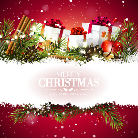 Christmas greeting card with gift boxes and traditional decorations on red background