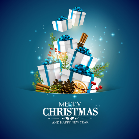 december holidays: Traditional Christmas decorations and gift boxes on blue background - Christmas greeting card