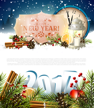 winter tree: Happy New Year 2017 - greeting card with place for your text
