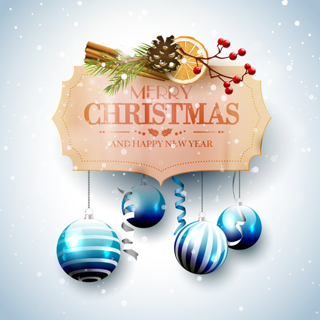 Christmas greeting card with traditional decorations and blue baubles