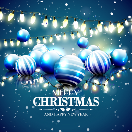 Modern Christmas greeting card with blue baubles