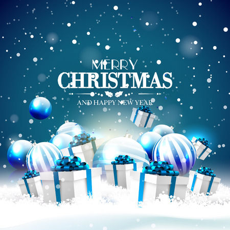 blue card: Modern Christmas greeting card with blue baubles and gifts in the snow Illustration