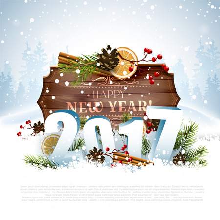 sylvester: Happy New Year 2017 - greeting card with place for your text