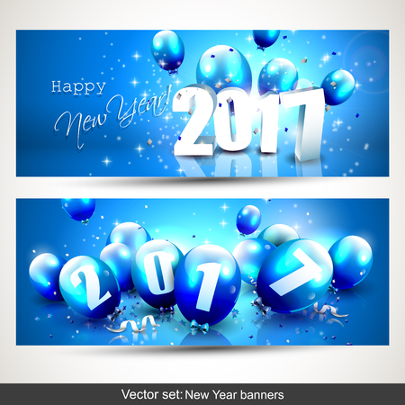 sylvester: Happy New Year 2017 - vector set of two horizontal banners Illustration