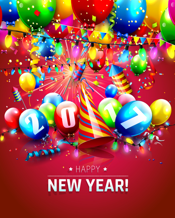 Happy New Year 2017 - greeting card with colorful balloons, fireworks and lights on red background