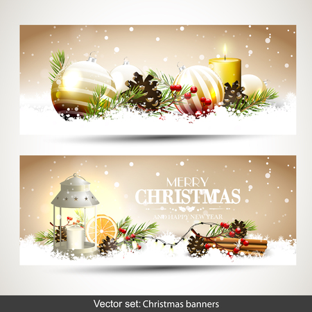 vector banners or headers: Vector set of two Christmas banners or headers with traditional Christmas decorations in the snow