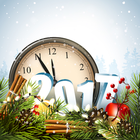 Happy New Year 2017 - greeting card with traditional decorations, clocks and 3D numbers in front of winter landscape
