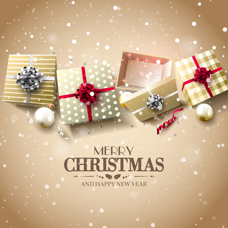 gold silver: Christmas gift boxes and baubles on gold background - Luxury Christmas greeting card