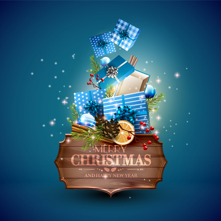 christmas blue: Christmas blue gift boxes, baubles and wooden sign on blue background - Luxury Christmas greeting card