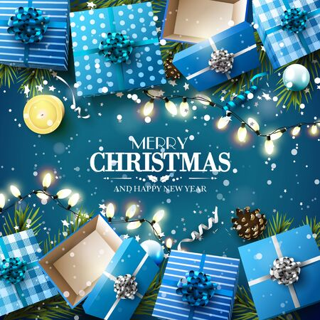 blue ribbon: Christmas blue gift boxes,branches and baubles on blue background - Luxury Christmas greeting card Illustration